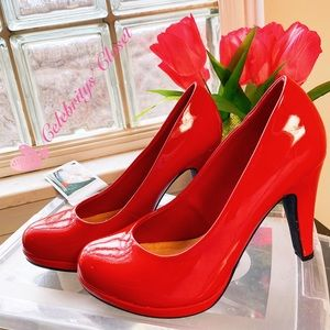 $DROP-JESSICA SIMPSON Red Patent Comfy Heels Shoes
